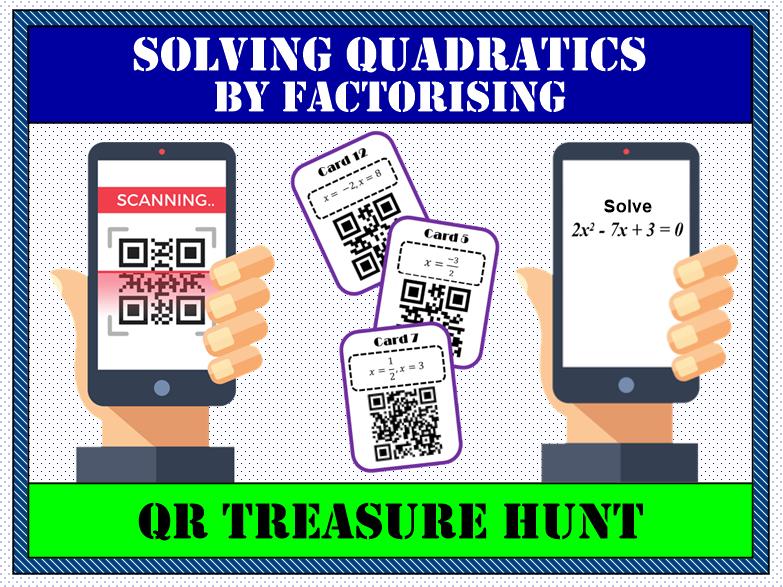 Solving quadratic equations by factorising QR Treasure Hunt