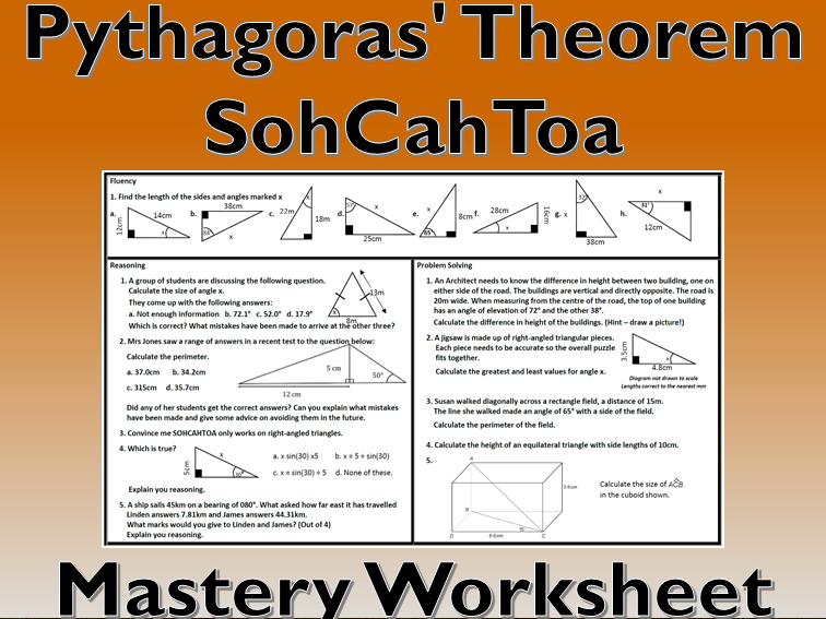 Pythagoras' Theorem Problem Solving Mastery Worksheet