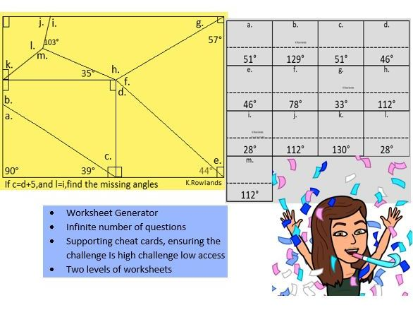 Angles in a quadrilateral and triangle, based on free resource