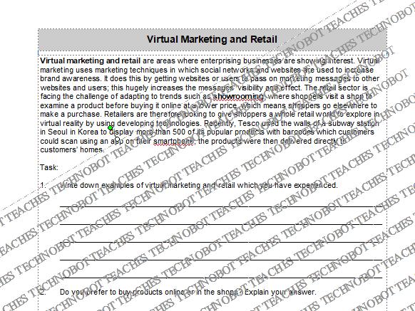 Virtual marketing and retail worksheet