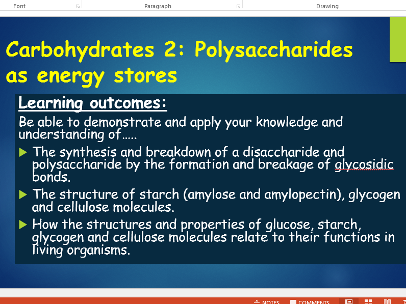 OCR A level Biology (H020 - from2015) Biological molecules - Polysaccharides as energy stores