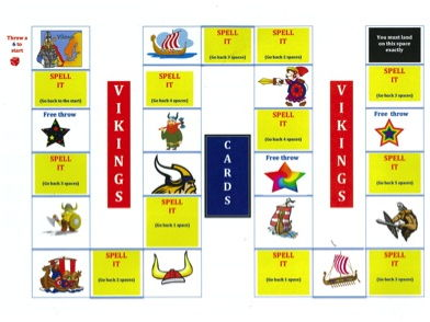 KS2 The Vikings - Spelling - Board game