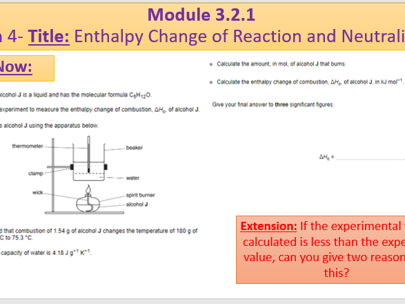 A Level Chemistry OCR A Module 3.2.1- Lesson 4- Enthalpy ...