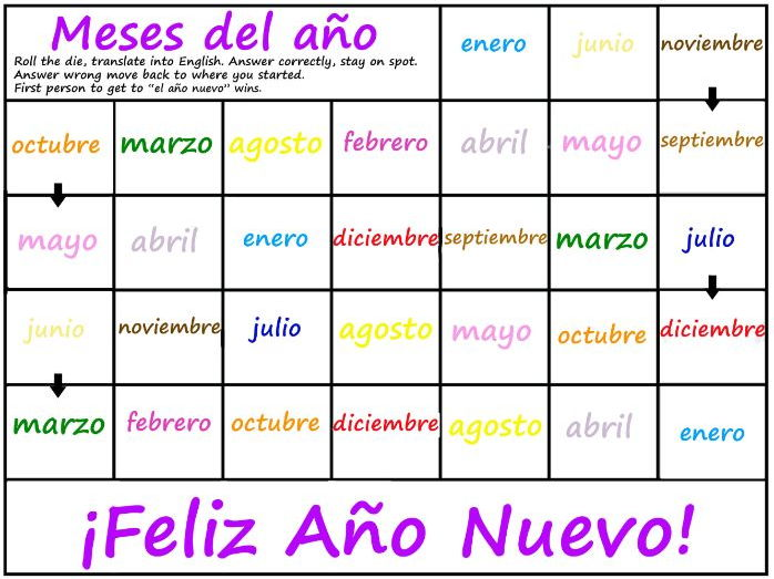 Months of theYear Game - SPANISH