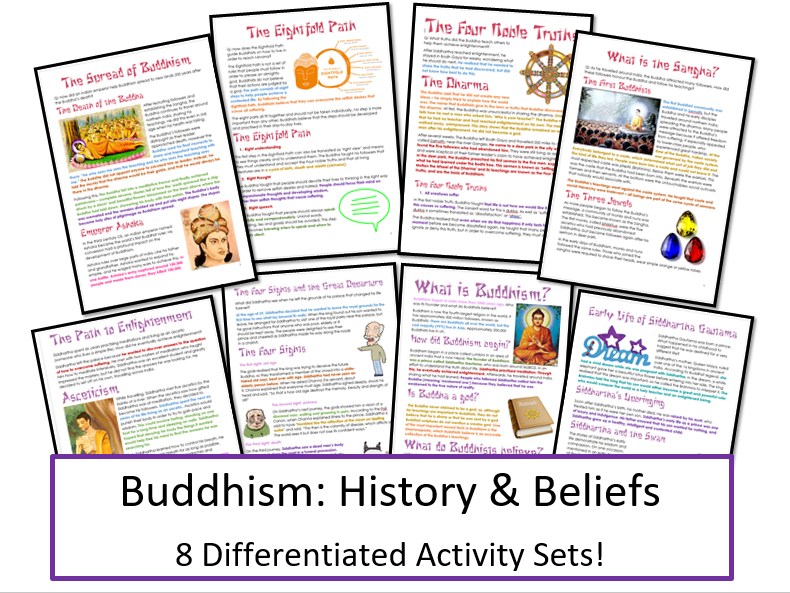 Buddhism: History & Beliefs Unit: Information and Tasks Bundle
