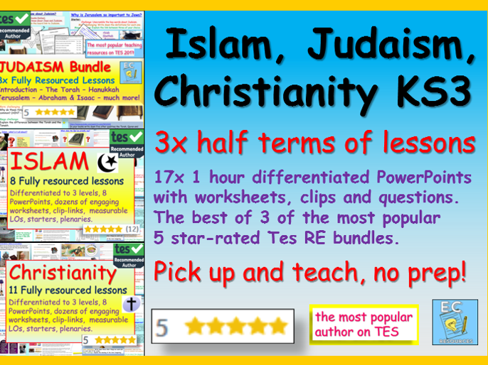KS3 RE - Islam, Christianity, Judaism units