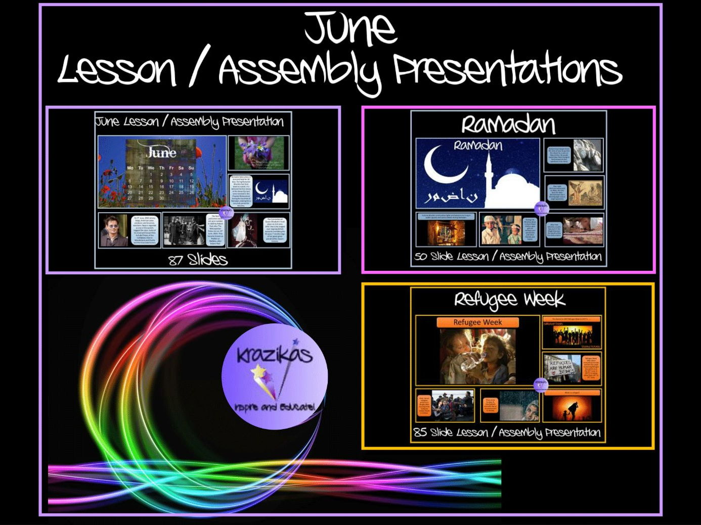 Three June-Themed Assembly / Lesson Presentations Bundle - All 50+ Slides