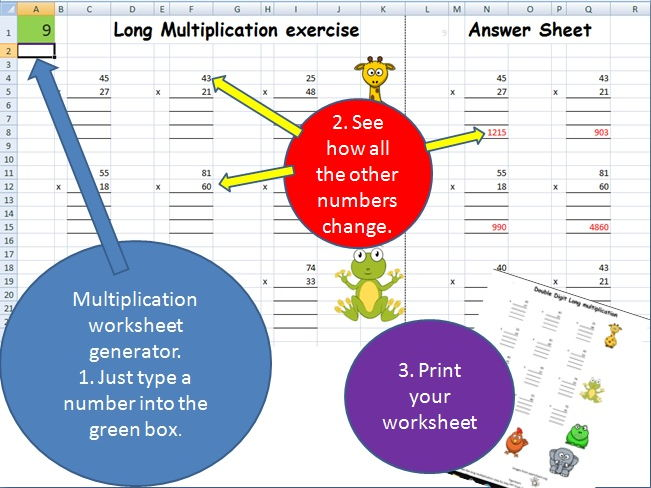 Multiplication worksheet generator - short, long, single, double, triple digit. Super simple.