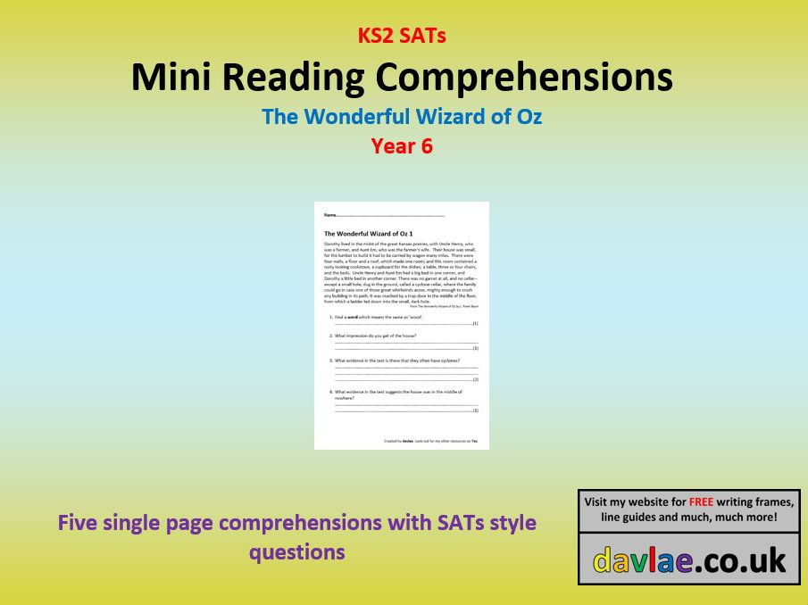 Mini Reading Comprehensions - The Wonderful Wizard of Oz -with Questions Similar to 2017 KS2 SATs
