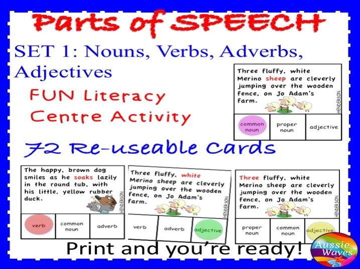PARTS OF SPEECH Centre Activities SET 1 Can you identify nouns, verbs, adjectives and adverbs?