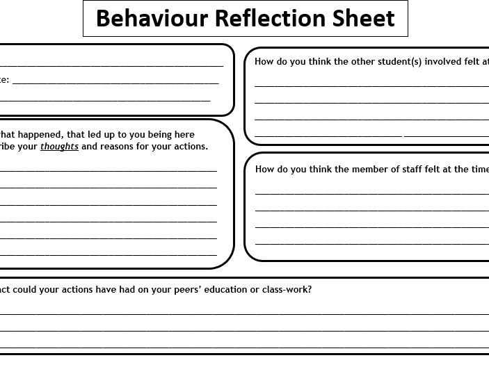 Behaviour Reflection Sheet