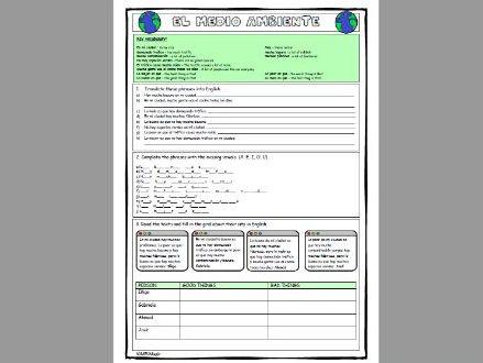 Environment worksheet bundle (el medio ambiente)