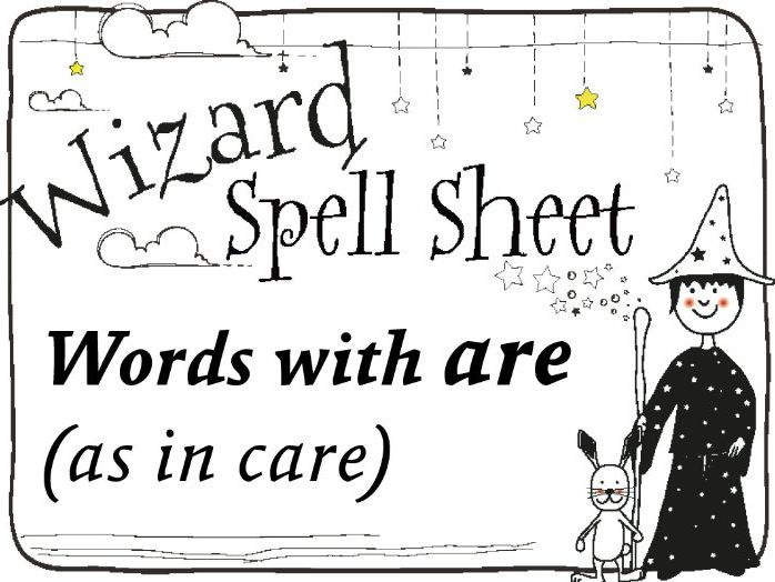 Wizard Spell Sheet: Words with are as in care