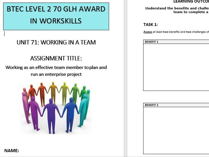 BTEC L2 Workskills Unit 71 Working in a Team - Assignment Brief and Workbook
