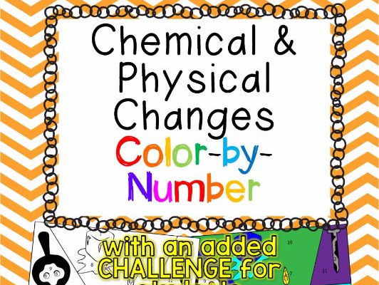 Chemical and Physical Changes Color-by-Number TEKS 6.5D & 8.5E