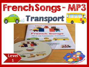 French Immersion - 10 Transport Songs in MP3 & Song booklet - Learn transport