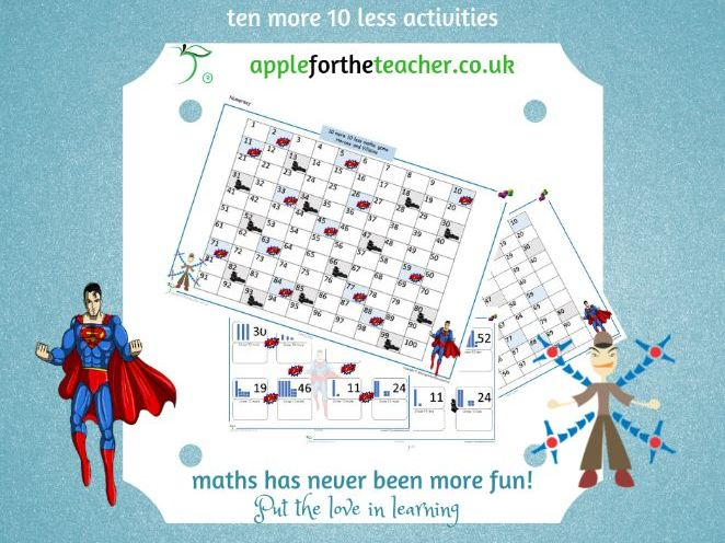 Ten more ten less superhero maths game and other activities