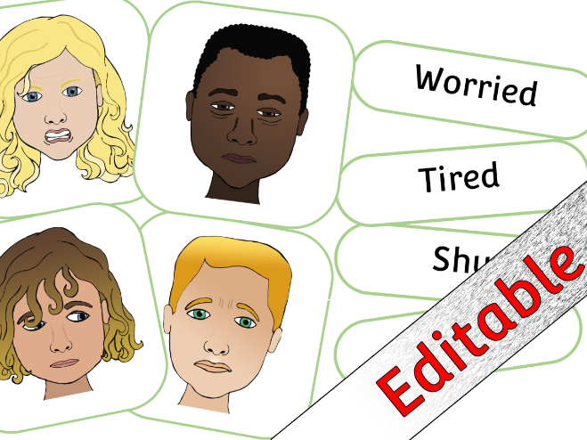 Emotion/Feeling Cards with Matching Words - Editable