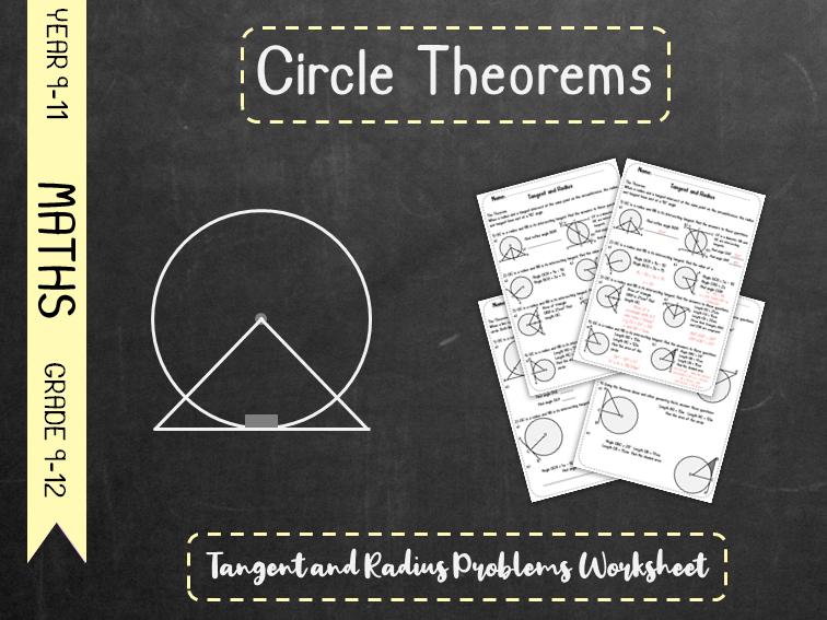 Circle Theorems - Tangent and Radius Problems Worksheet