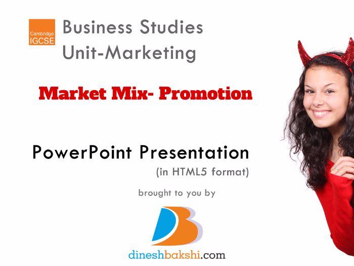 Marketing Mix-Promotion - IGCSE Business Studies