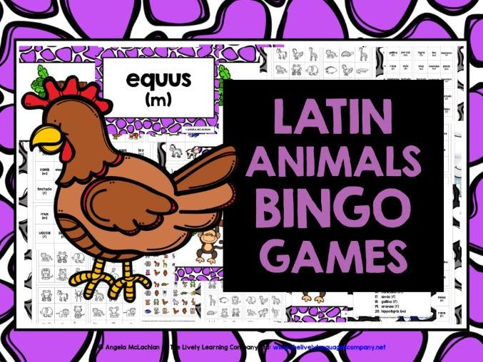 PRIMARY LATIN ANIMALS BINGO