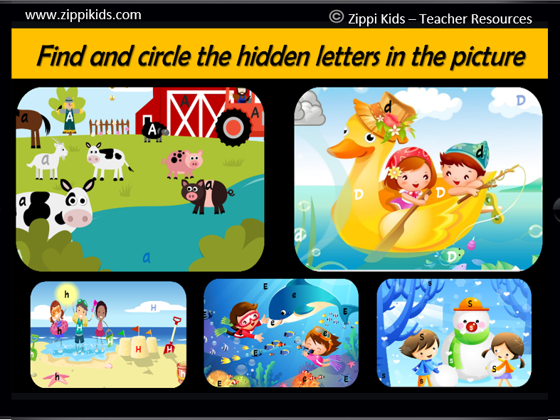 Virtual Hidden Alphabet Picture Search   Letter Recognition - 26 Google Slide