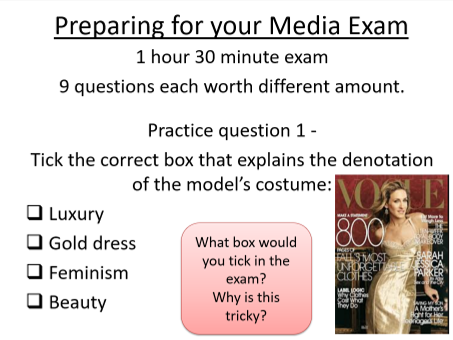 3 Media Lesson Powerpoints: Galaxy Advert, Stereotypes, and Exam practice support