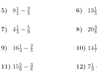Subtraction between fractions and mixed numbers worksheet (with solutions)