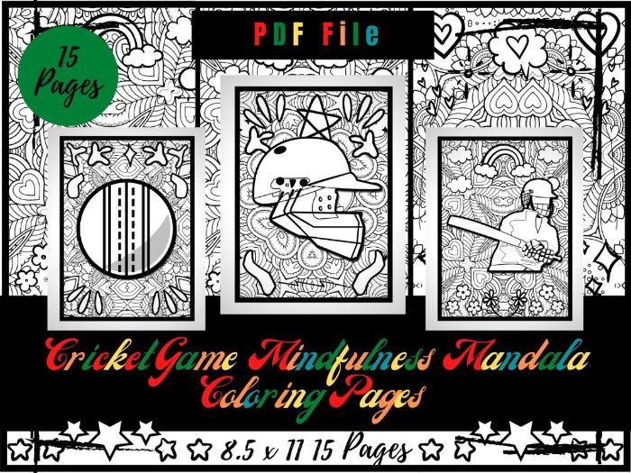 Cricket Game Mindfulness Mandala Colouring Pages, Sport Colouring Printable Sheets