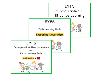 ALL EYFS cards: Age Statements, ELGS, Exceeding Descriptors and CoEL!