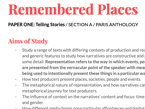 English Language and Literature: Paris Anthology, Simplified Specification