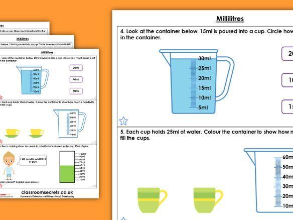 Year 2 Millilitres Summer Block 4 Maths Homework Extension