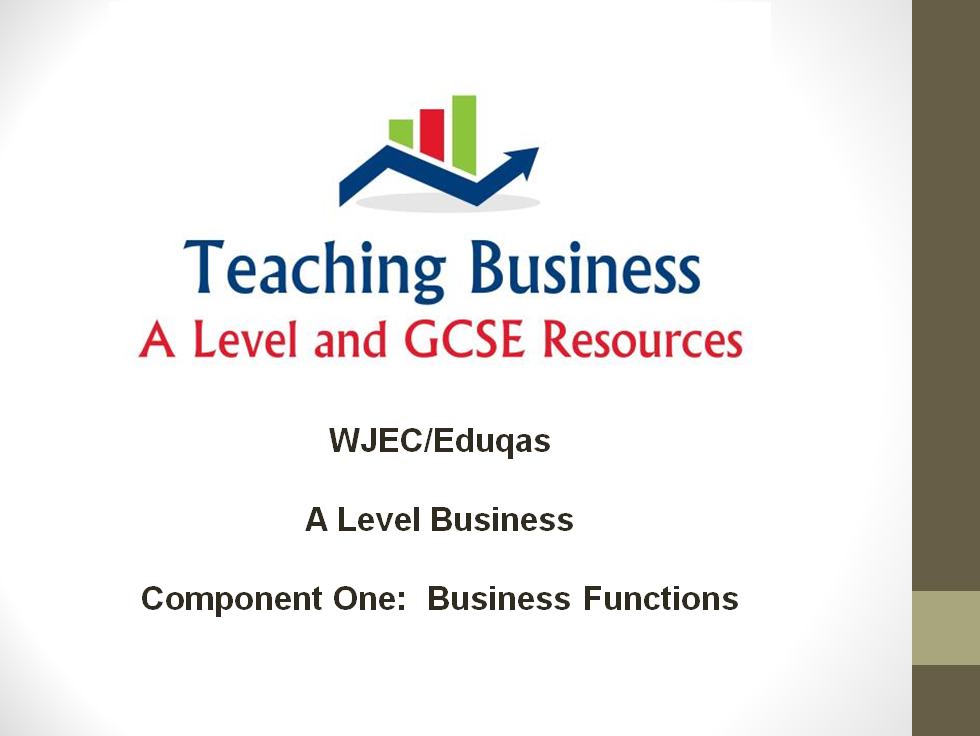 Eduqas Teacher PowerPoint Pack - Component One (Business Functions)