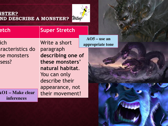 *2015+ SPEC SKILLS* Monsters Poetry SOL - Year 8 or 9