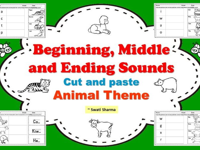 Beginning Middle and Ending Sounds Cut and Paste Animal Theme