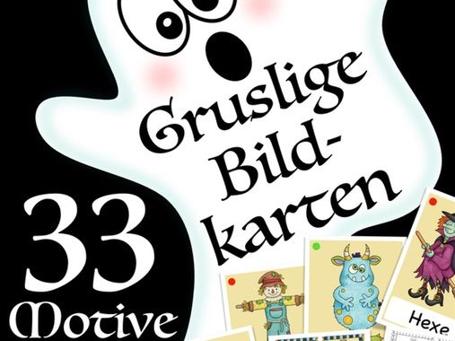 DEUTSCH  Halloween flash cards, Bildkarten / DAF, German culture, Germany, Vocabulary