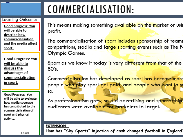 EDEXCEL GCSE PE (9-1) HEALTH AND FITNESS (Paper 2) 3.2 THE COMMERCIALISATION OF SPORT (NEW)