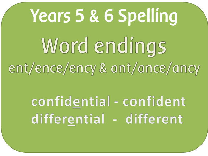 SPaG Year 5 & 6 Spelling:  Words ending in –ant,  –ance/–ancy &  –ent,  –ence/–ency