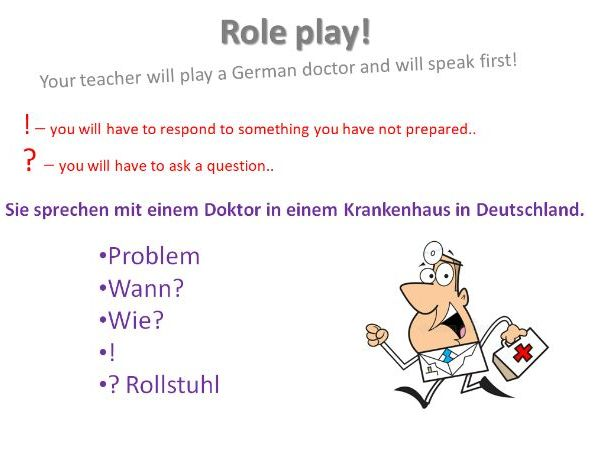 Krankheiten - Role Play cards GCSE