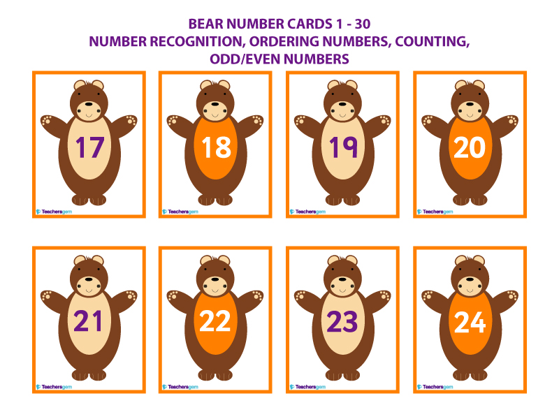 NUMBER CARDS 1-30 BEARS