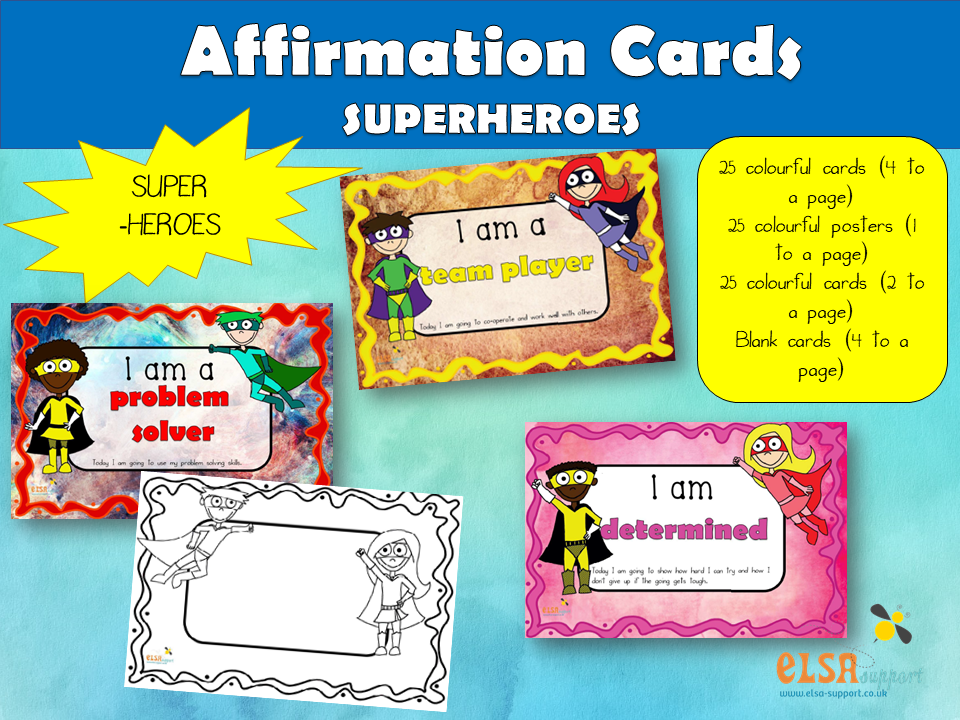 Affirmation Cards with a Superhero theme, PSHE, Social and Emotional Learning