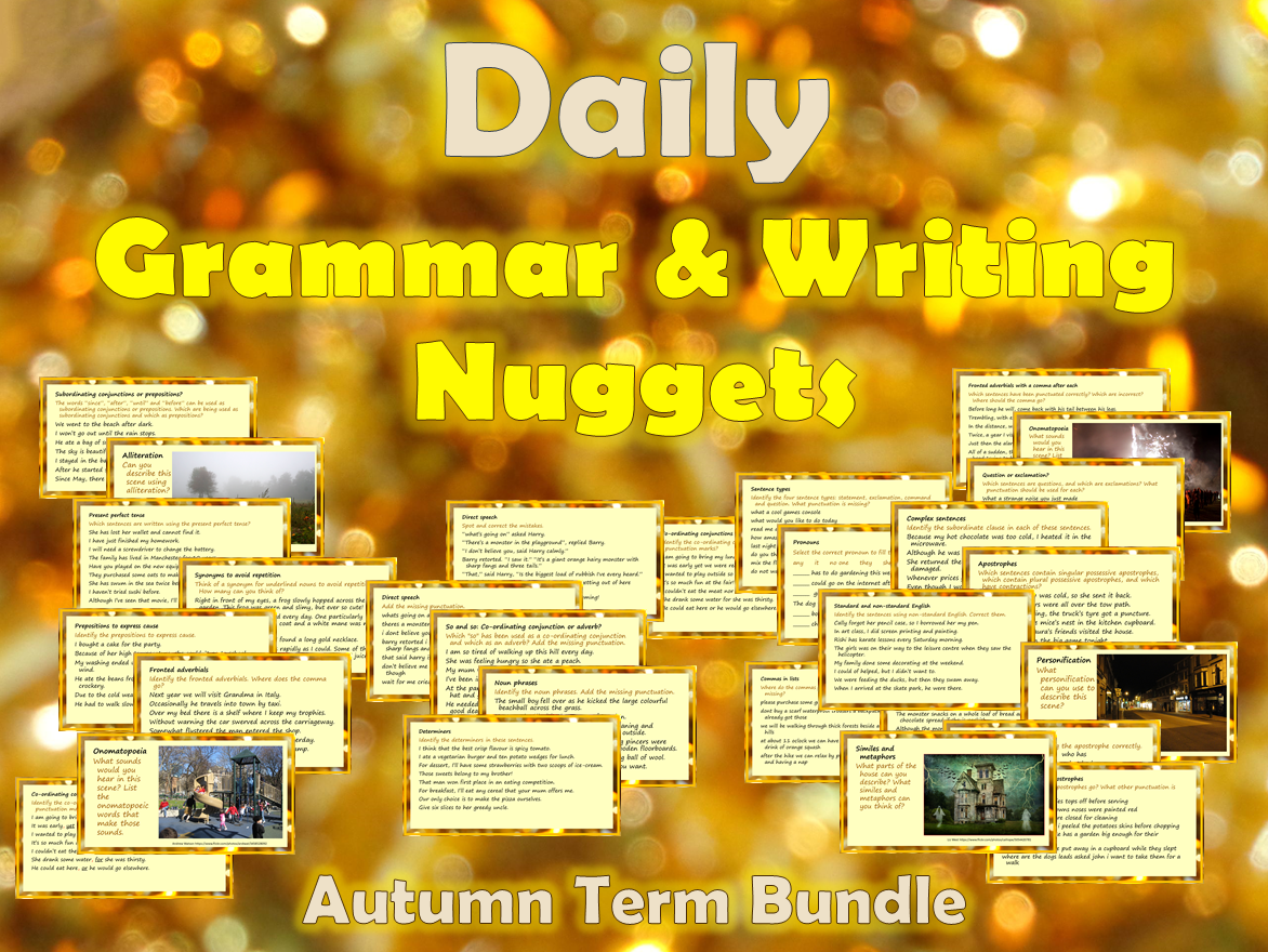 Daily Grammar & Writing Nuggets with Answers - Autumn Term BUNDLE
