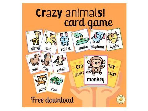 Crazy animals! English animals vocabulary card game
