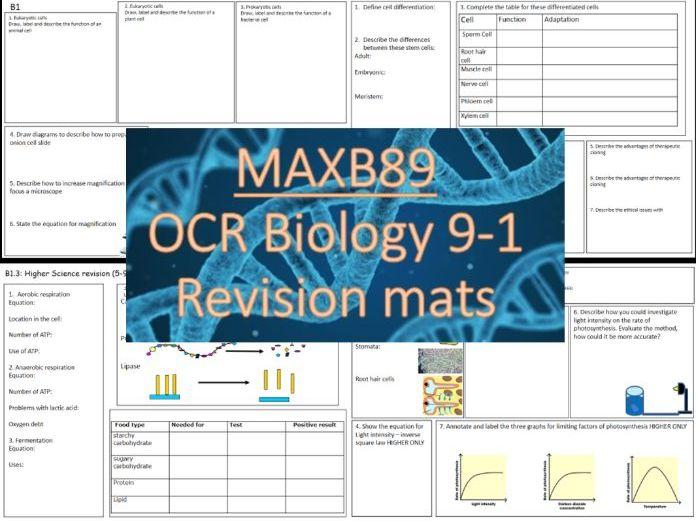 FREE!!! GCSE 9-1 Revision Biology OCR Unit 1 Revision Mats
