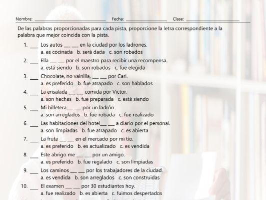 Passive versus Active Voice Multiple Choice Spanish Worksheet