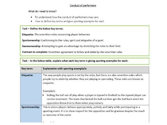 GCSE PE - Conduct of performers - Student worksheet