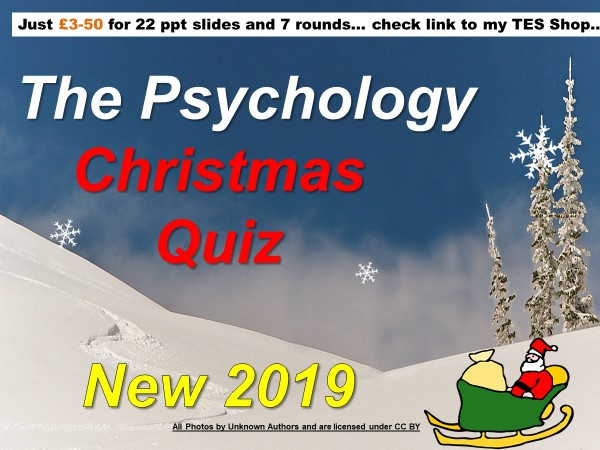 Psychology Christmas Quiz 2019… Loads of fun, updated and one new round