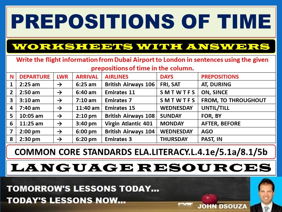 PREPOSITIONS OF TIME WORKSHEETS WITH ANSWERS