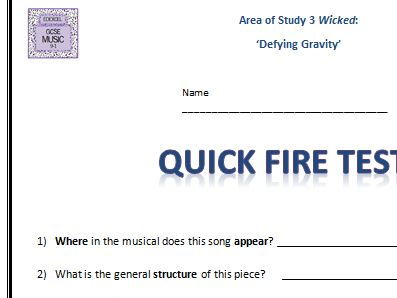 "QUICK FIRE TEST Wicked ""Defying Gravity""- GCSE 9-1 Edexcel"