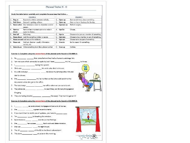 Phrasal Verbs Beginning with N & O: Worksheet / Revision